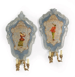 A PAIR OF LUCITE, GILT-METAL A