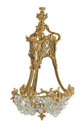 A GILT-BRONZE AND CUT-GLASS CH