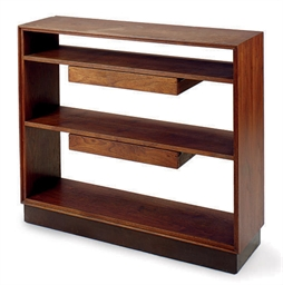 A WALNUT BOOKSHELF,