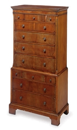 AN ENGLISH YEWWOOD CHEST-OF-DR