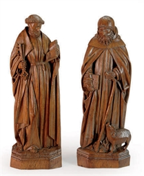 TWO CARVED OAK FIGURES OF SAIN