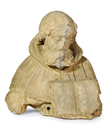 A CARVED LIMESTONE BUST OF A S