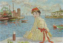 Femme au le port de Dieppe