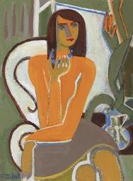 Autoportrait avec collier bleu