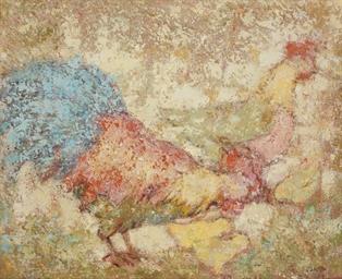 Un coq, une poule et ses pouss