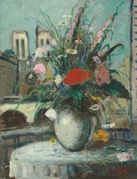Bouquet champêtre devant la fe