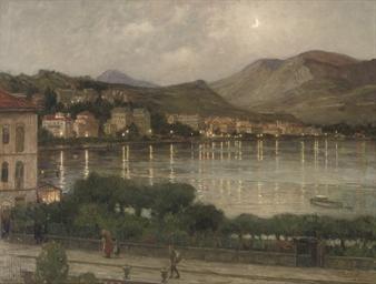 Avondschemering Lugano: view o