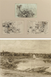 Three studies of figures on a
