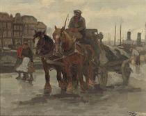 A horse-drawn cart on a quay