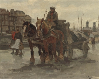 A horse-drawn cart on a quay
