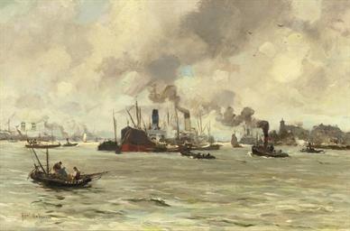 A Dutch harbour scene