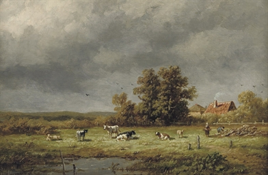Cows in a sunlit meadow