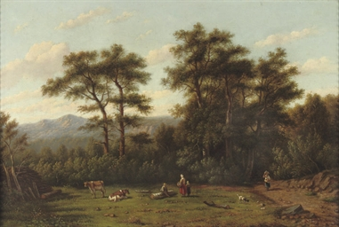 Resting in a wooded landscape
