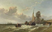A tender approaching a fleet of warships