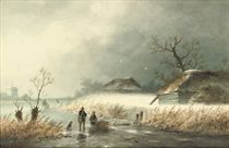 Woodgatherers on the ice on a misty day
