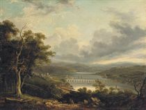 A river landscape with a town by a bridge