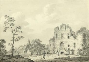 A ruin near a village