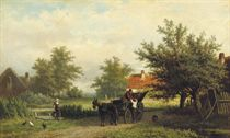 A horsedrawn carriage on a country path