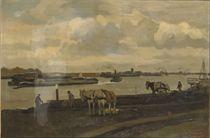 Work horses near a river
