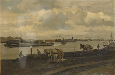 Work horses near a river
