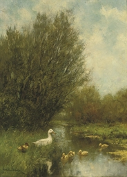 Landscape with ducks in a pond