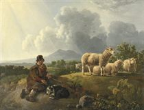 A shepherd and his flock resting in a summer landscape