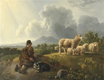 A shepherd and his flock resti
