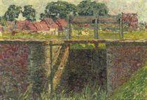 Petite écluse: a lock with a village beyond