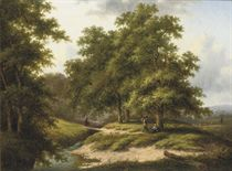 Travellers on a forest path near a stream