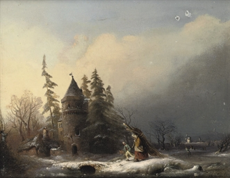Travellers in a winterlandscap