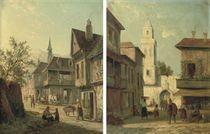 A street in Vigo Spain; A view in Namur