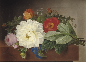 A bouquet of flowers on a marb