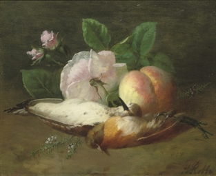 Song birds, a peach, pink rose