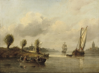 Boats in a calm near a town
