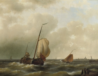 Sailing vessels on choppy wate