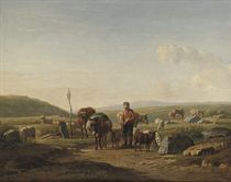 A farmer with cows, sheep and a mule on a country road