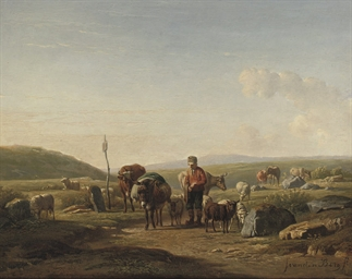 A farmer with cows, sheep and