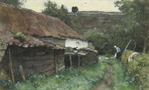 Behind the farmhouse
