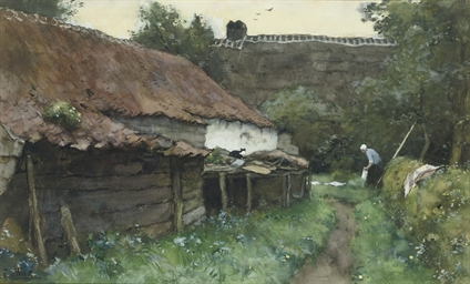 Behind the farmhouse