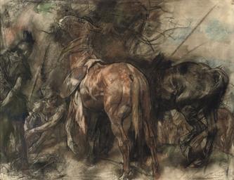 Cavalry men resting