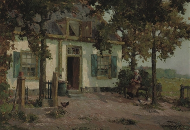 In front of the farmhouse