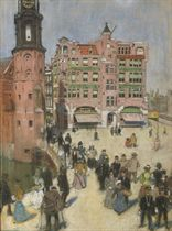 A sunny day with figures on the Muntplein, Amsterdam
