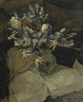 A still life with blue and white flowers