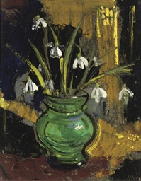 Snow-drops in a green vase