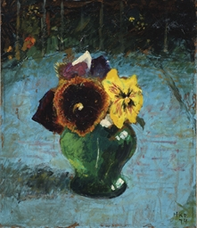 Pansies in a green vase