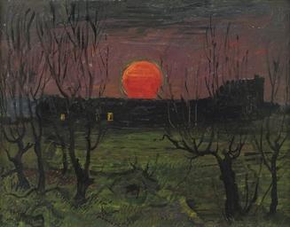 Ondergaande zon bij Haagsche S