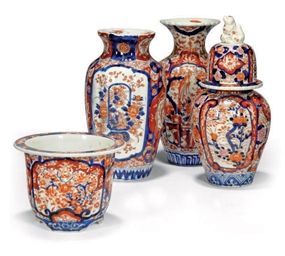 THREE JAPANESE IMARI VASES AND