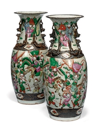 A PAIR OF CHINESE CRACKLE GLAZ