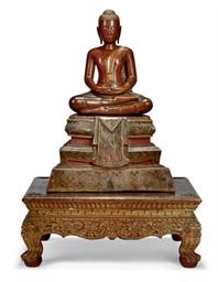 A THAI CARVED WOOD BUDDHA