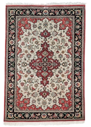 A lot of two fine silk Qum rug